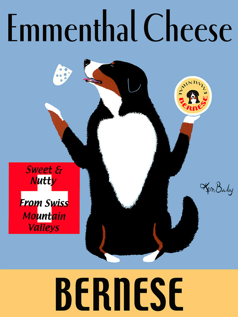 CUSTOM BERNESE EMMENTHAL CHEESE - - Retro Vintage Advertising Art featuring a Bernese Mountain Dog by Ken Bailey