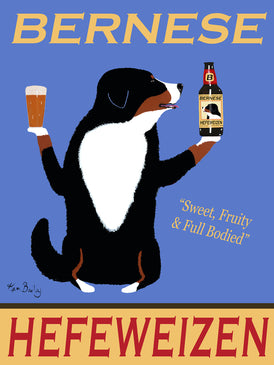 BERNESE HEFEWEIZEN - Retro Vintage Advertising Art featuring a Bernese by Ken Bailey