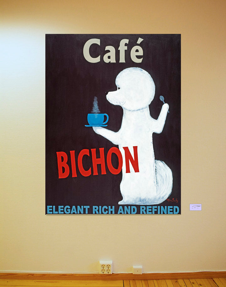 Café Bichon - The Original Painting - Retro Vintage Advertising Art featuring a Bichon by Ken Bailey