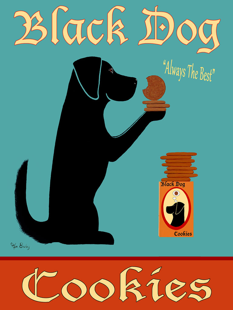 CUSTOM BLACK DOG COOKIES - Retro Vintage Advertising Art featuring a black dog by Ken Bailey