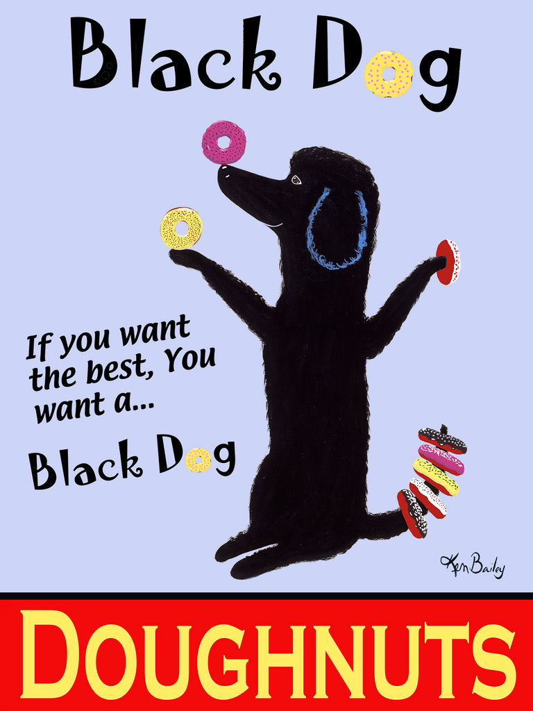 BLACK DOG DOUGHNUTS - Retro Vintage Advertising Art featuring a black dog by Ken Bailey