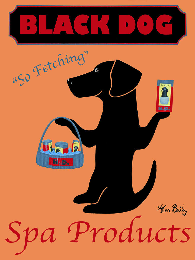 CUSTOM BLACK DOG SPA PRODUCTS - Retro Vintage Advertising Art featuring a black dog by Ken Bailey