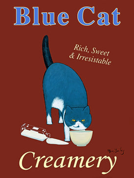 BLUE CAT CREAMERY - Retro Vintage Advertising Art featuring a British Blue Shorthair cat by Ken Bailey