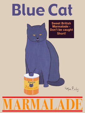 BLUE CAT MARMALADE - Retro Vintage Advertising Art featuring a British Blue Shorthair cat by Ken Bailey
