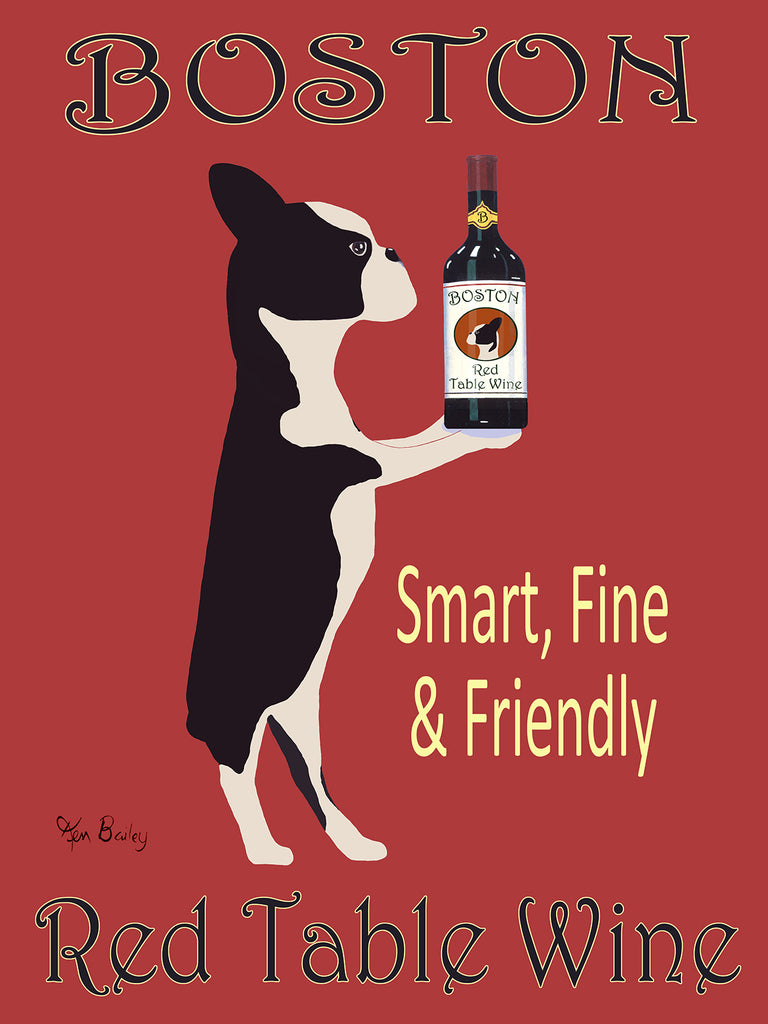 CUSTOM BOSTON RED TABLE WINE - Retro Vintage Advertising Art featuring a Boston Terrier by Ken Bailey