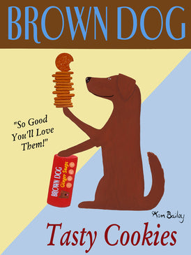 CUSTOM BROWN DOG COOKIES - - Retro Vintage Advertising Art featuring a brown dog by Ken Bailey