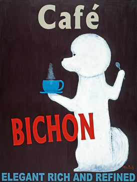 Café Bichon - Retro Vintage Advertising Art featuring a Bichon by Ken Bailey