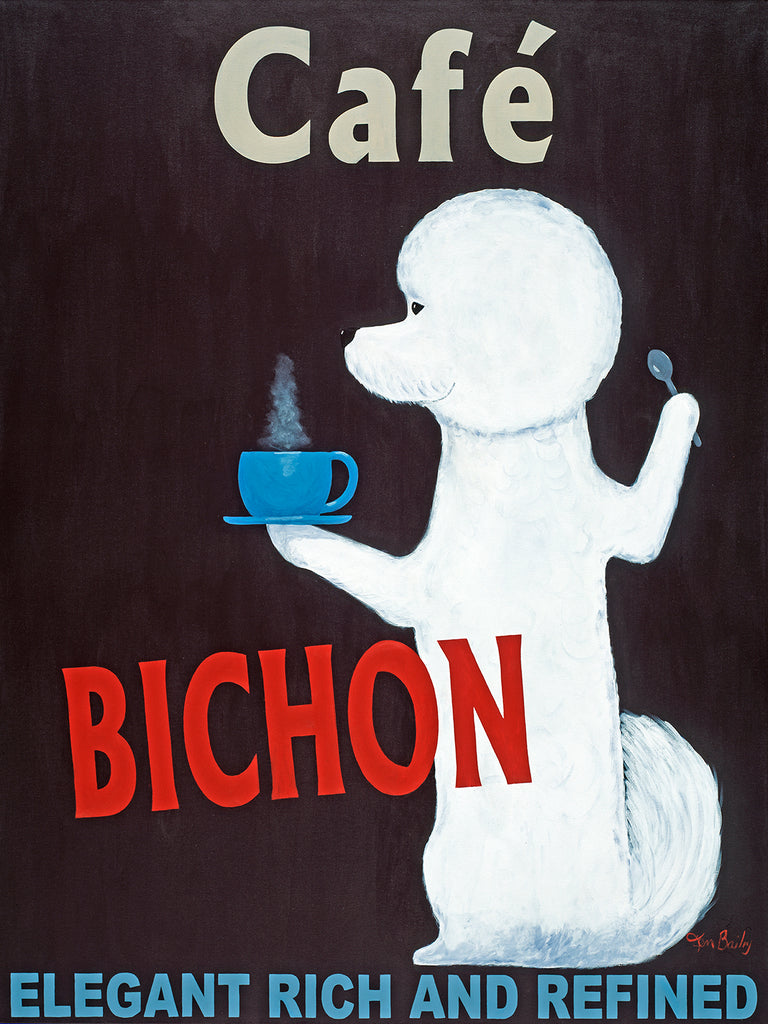 Custom Café Bichon - Retro Vintage Advertising Art featuring a Bichon Frise by Ken Bailey
