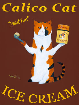 CUSTOM - CALICO CAT ICE CREAM - - Retro Vintage Advertising Art featuring a Calico Cat with wine by Ken Bailey