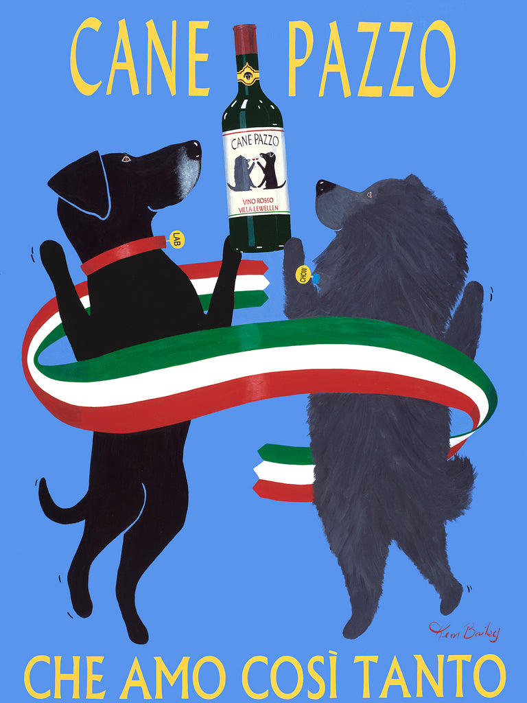 CUSTOM CANE PAZZO (CRAZY DOG) - - Retro Vintage Advertising Art featuring a Chow and Labrador by Ken Bailey
