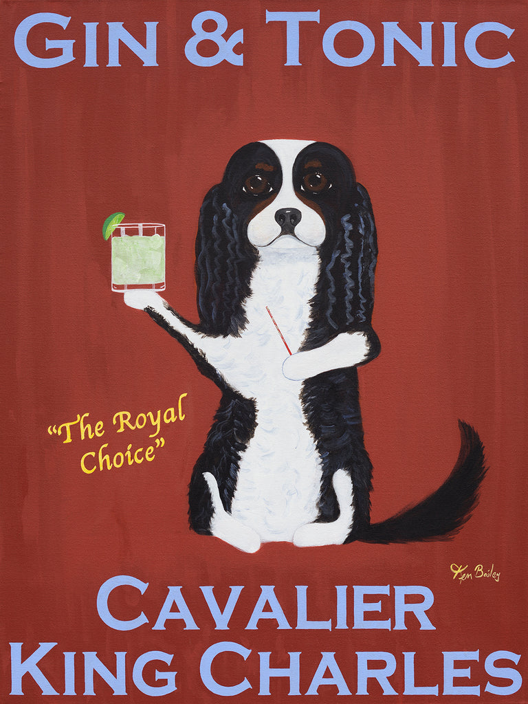 CAVALIER GIN & TONIC - Retro Vintage Advertising Art featuring a Cavalier King Charles Spaniel by Ken Bailey