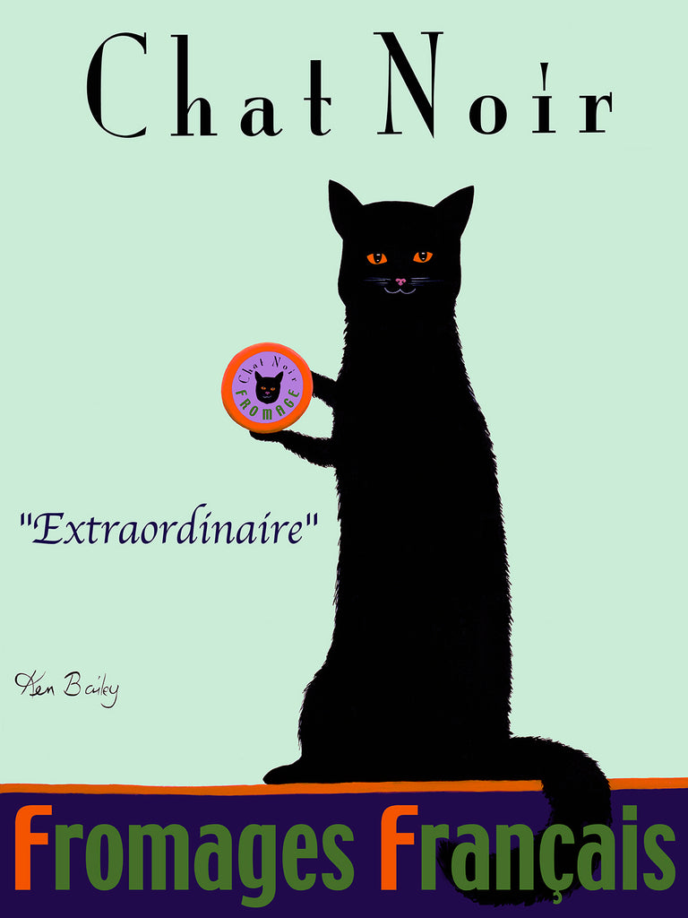 CUSTOM CHAT NOIR - FROMAGE FRANÇAIS -- Retro Vintage Advertising Art featuring a black cat by Ken Bailey