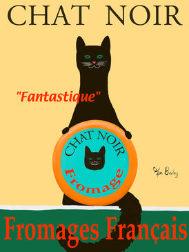 CHAT NOIR II  - FROMAGES FRANÇAIS (BLACK CAT FRENCH CHEESES) - Retro Vintage Advertising Art featuring a black cat  by Ken Bailey