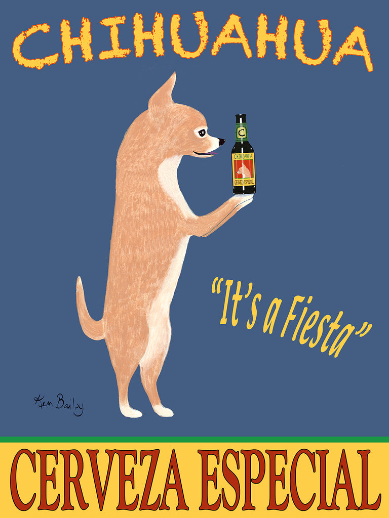 CHIHUAHUA CERVEZA ESPECIAL (Chihuahua Special Beer) - Retro Vintage Advertising Art featuring a Chihuahua by Ken Bailey