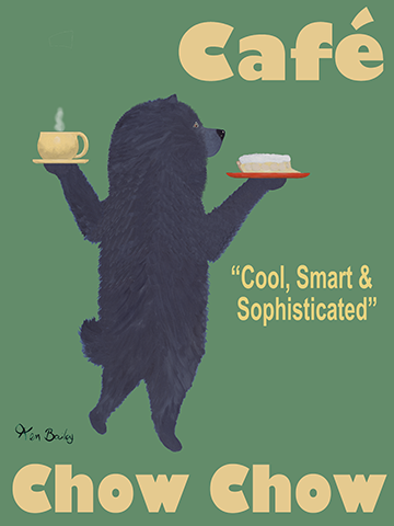 Café Chow Chow - Retro Vintage Advertising Art featuring a Chow Chow by Ken Bailey