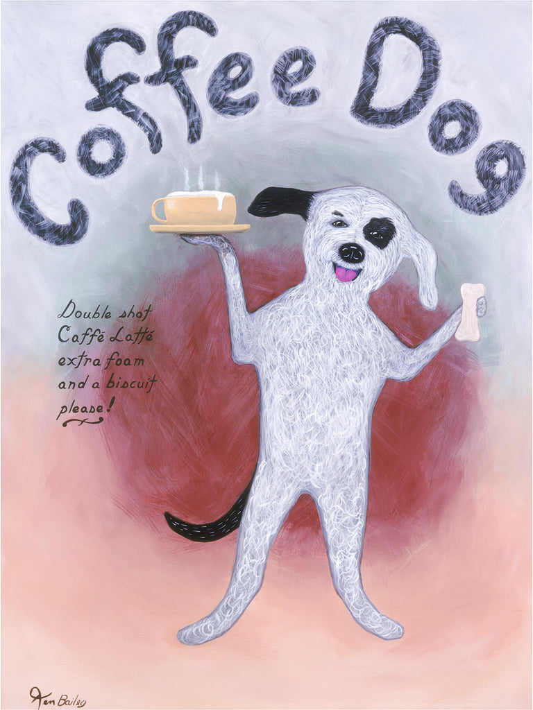 COFFEE DOG - Retro Vintage Advertising Art featuring a dog with coffee by Ken Bailey