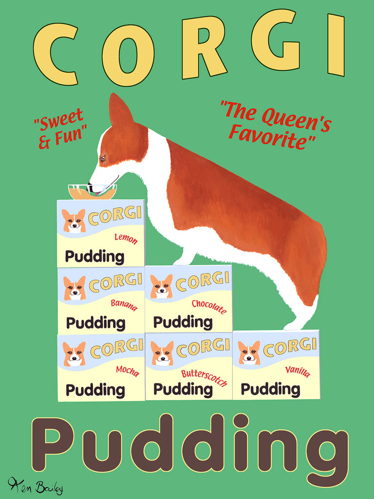 CORGI PUDDING - Retro Vintage Advertising Art featuring a Corgi by Ken Bailey