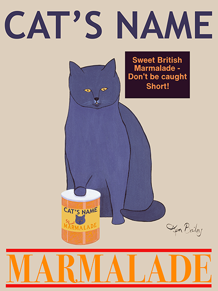 CUSTOM BLUE CAT MARMALADE - - Retro Vintage Advertising Art featuring a British Blue Shorthair Cat by Ken Bailey