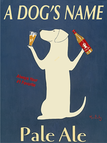 CUSTOM LABRADOR PALE ALE -- Retro Vintage Advertising Art featuring a Labrador Retriever by Ken Bailey