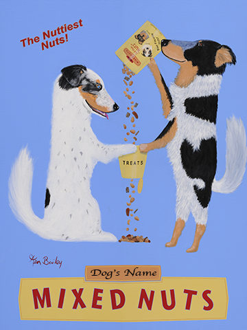 CUSTOM AUSSIE BRAND MIXED NUTS -- Retro Vintage Advertising Art featuring Two Australian Shepherds by Ken Bailey