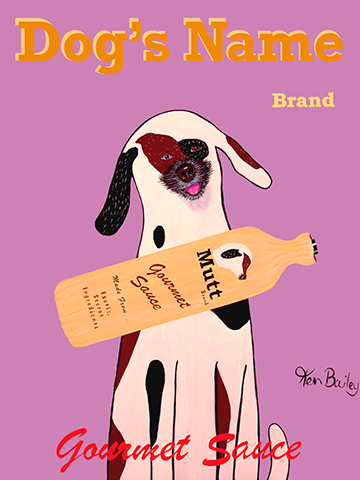 CUSTOM MUTT BRAND -- Retro Vintage Advertising Art featuring a Mutt or mixed breed by Ken Bailey