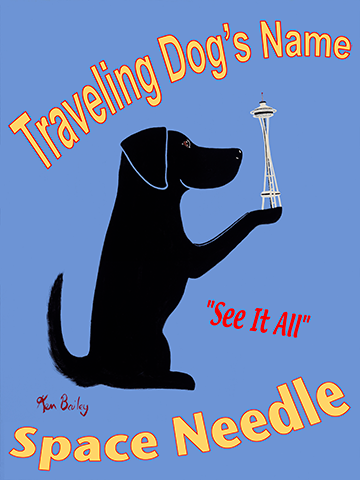 CUSTOM TRAVELING DOG - THE SPACE NEEDLE -- Retro Vintage Advertising Art featuring a black dog by Ken Bailey