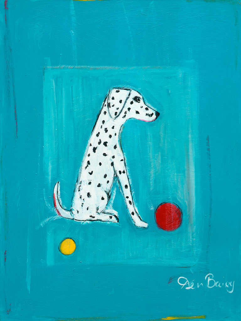 DALMATIAN WITH A RED BALL AND A YELLOW BALL - Retro Vintage Advertising Art featuring a Dalmatian dog by Ken Bailey