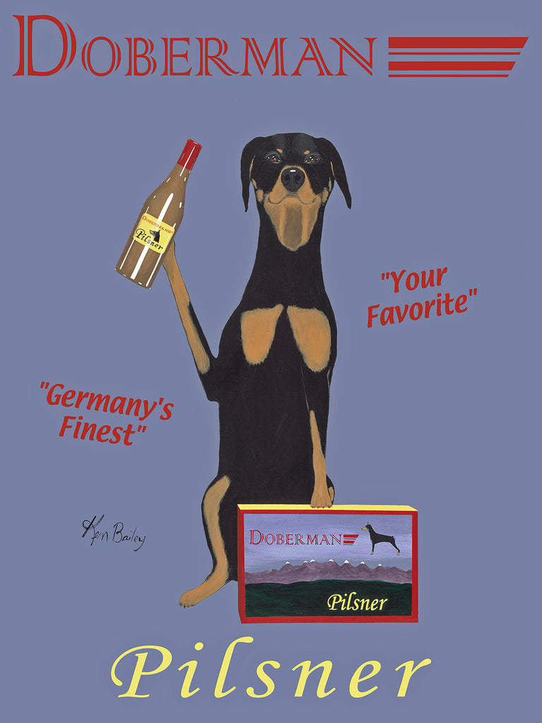 DOBERMAN PILSNER - The Original Painting - Retro Vintage Advertising Art featuring a Doberman Pincer by Ken Bailey