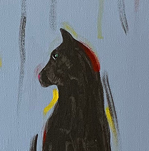 GRAY CAT WITH YARN - Original Painting