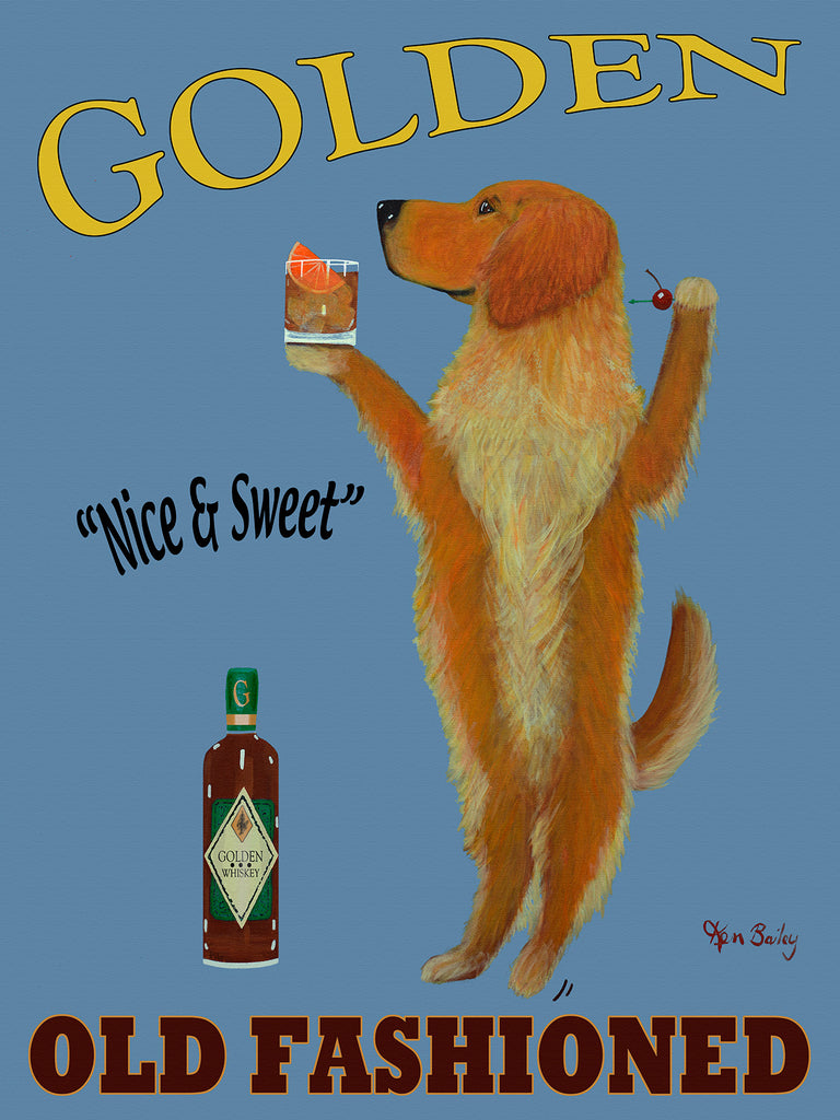 CUSTOM GOLDEN OLD FASHIONED -- Retro Vintage Advertising Art featuring a Golden Retriever by Ken Bailey