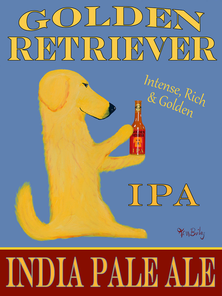 GOLDEN RETRIEVER INDIAN PALE ALE - Retro Vintage Advertising Art featuring a Golden Retriever by Ken Bailey