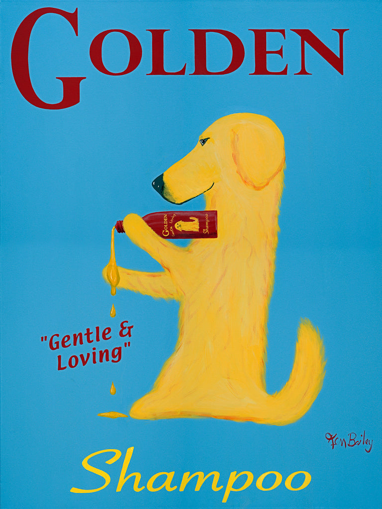 GOLDEN SHAMPOO - Retro Vintage Advertising Art featuring a Golden Retriever by Ken Bailey