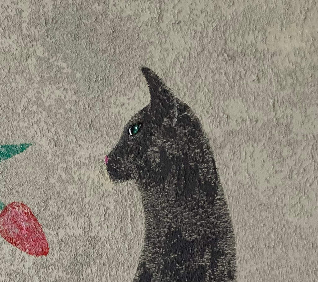 GRAY CAT WITH TULIP - Original Painting
