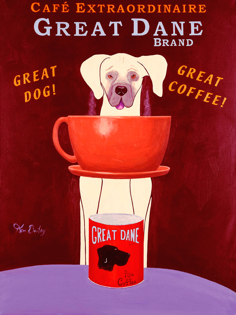 GREAT DANE BRAND COFFEE - Retro Vintage Advertising Art featuring a Great Dane dog by Ken Bailey