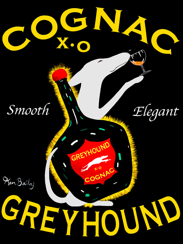 GREYHOUND COGNAC - Retro Vintage Advertising Art featuring a Greyhound by Ken Bailey