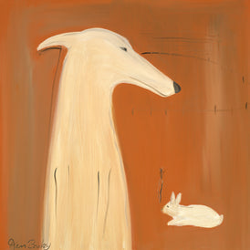 GREYHOUND AND RABBIT - Whimsical Art featuring a Greyhound by Ken Bailey