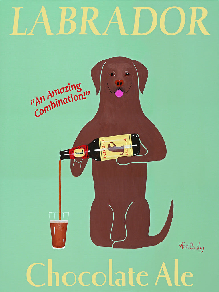 CUSTOM LABRADOR CHOCOLATE ALE - Retro Vintage Advertising Art featuring a Labrador Retriever by Ken Bailey