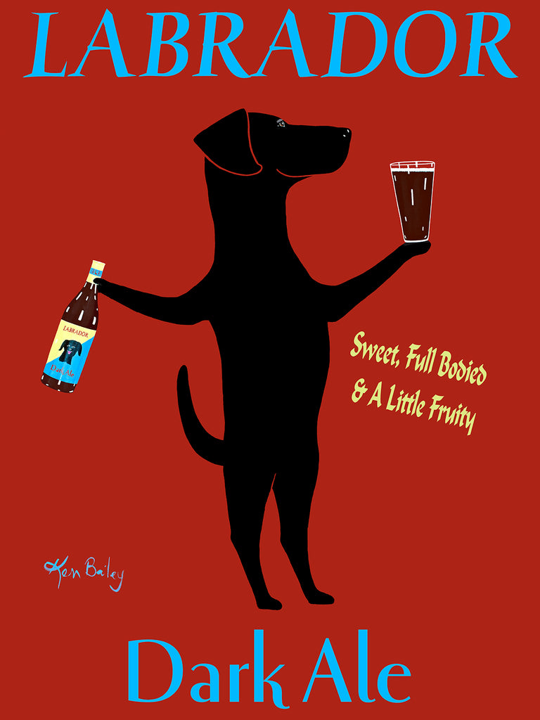 CUSTOM LABRADOR DARK ALE - Retro Vintage Advertising Art featuring a Labrador Retriever by Ken Bailey