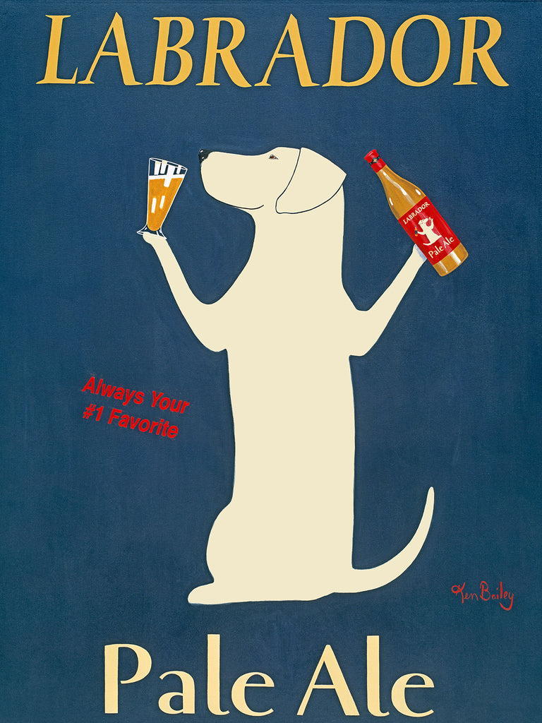 LABRADOR PALE ALE - Retro Vintage Advertising Art featuring a Labrador Retriever by Ken Bailey
