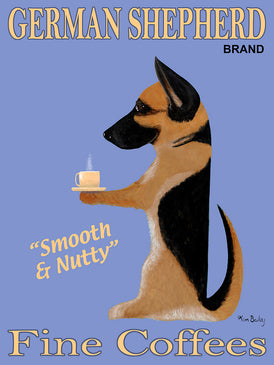 Custom German Shepherd Brand Fine Coffees - Retro Vintage Advertising Art featuring a German Shepherd by Ken Bailey