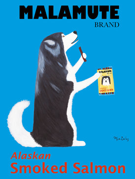 CUSTOM MALAMUTE SMOKED SALMON -- Retro Vintage Advertising Art featuring a Malamute by Ken Bailey