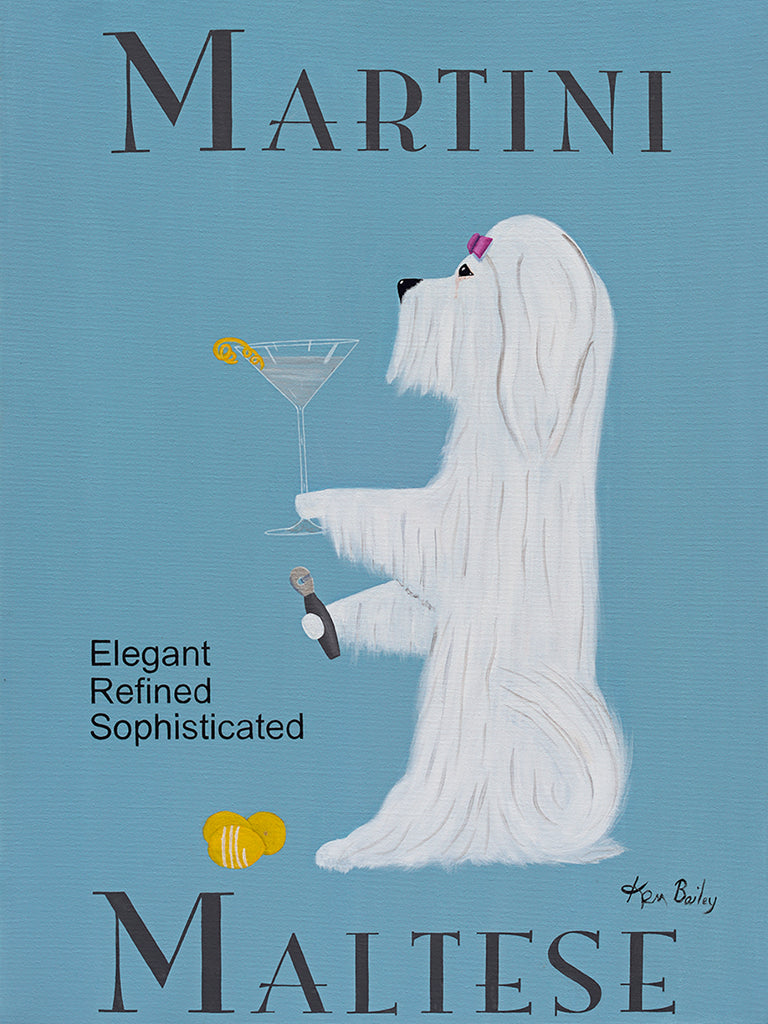CUSTOM MALTESE MARTINI - Retro Vintage Advertising Art featuring a Maltese by Ken Bailey