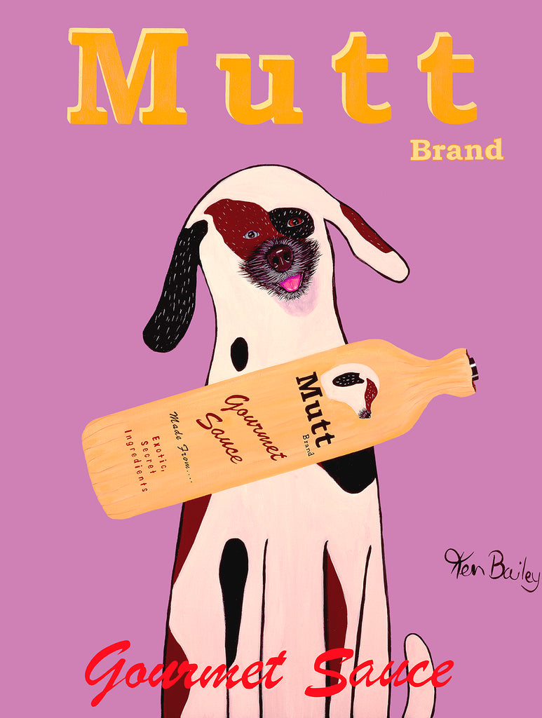MUTT BRAND - Retro Vintage Advertising Art featuring a mixed breed dog by Ken Bailey