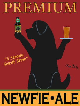 NEWFIE ALE - Retro Vintage Advertising Art featuring a Newfoundland Retriever by Ken Bailey