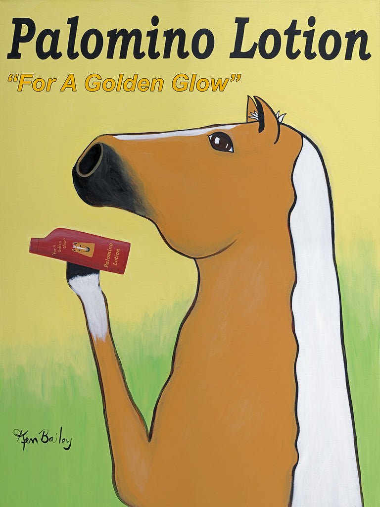 CUSTOM PALOMINO LOTION -- Retro Vintage Advertising Art featuring a Palomino horse by Ken Bailey