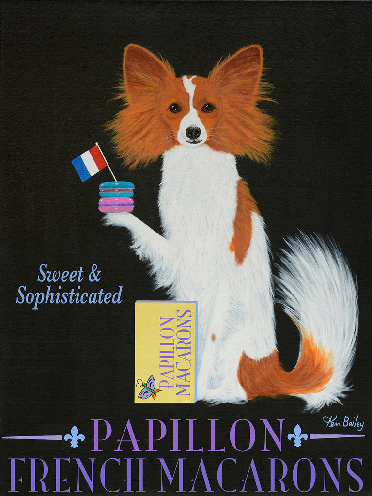 CUSTOM PAPILLON FRENCH MACARONS -- Retro Vintage Advertising Art featuring a Papillon by Ken Bailey