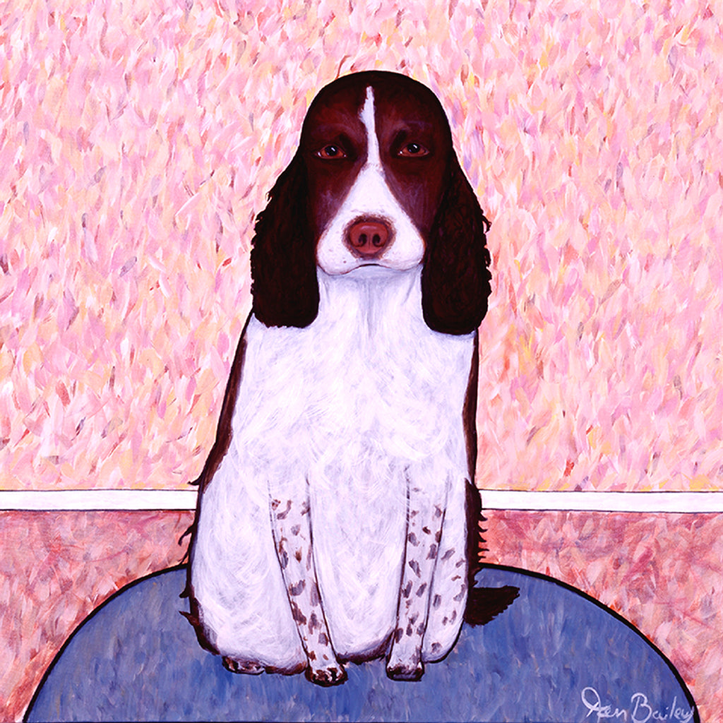 PATIENCE - Whimsical Art featuring an Englksh Springer Spaniel by Ken Bailey