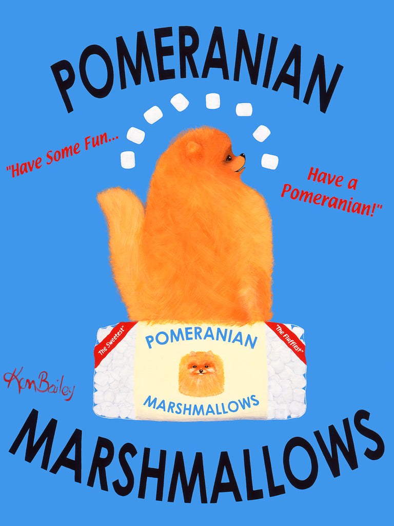 POMERANIAN MARSHMALLOWS - Retro Vintage Advertising Art featuring a Pomeranian by Ken Bailey