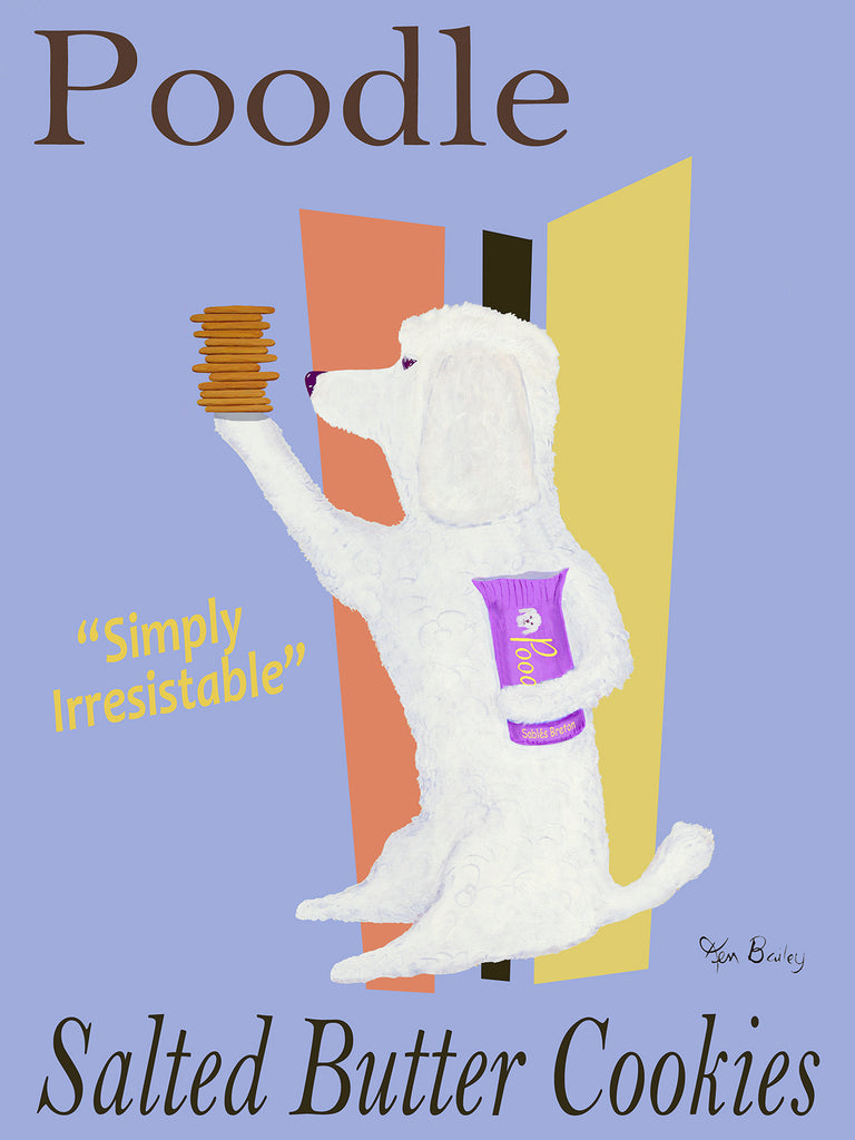 CUSTOM POODLE SALTED BUTTER COOKIES (SABLES BRETON) -- Retro Vintage Advertising Art featuring a Poodle by Ken Bailey