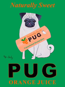 CUSTOM PUG ORANGE JUICE -- Retro Vintage Advertising Art featuring a Pug by Ken Bailey